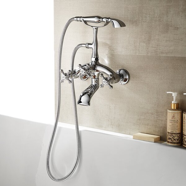 Juniper Double Handle Wall Mount Bath Shower Mixer Trim with Hand Shower by Vinnova