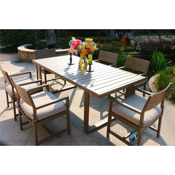 Schreffler Aluminum 7 Piece Dining Set with Cushions by Red Barrel Studio