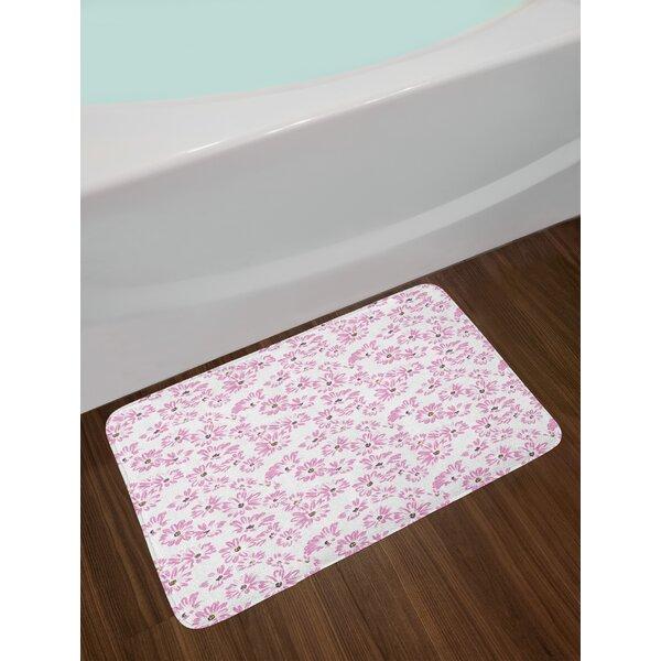 Watercolor Pastel Pale Flower Bath Rug by East Urban Home