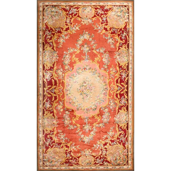One-of-a-Kind French Hand-Knotted 1900s Orange 15' x 27' Wool Area Rug