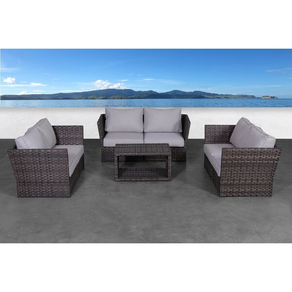 Cochran 7 Piece Rattan Sofa Seating Group with Cushions by Rosecliff Heights