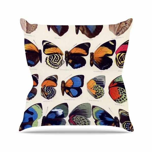 Suzanne Carter Vintage Wings Nature Outdoor Throw Pillow by East Urban Home