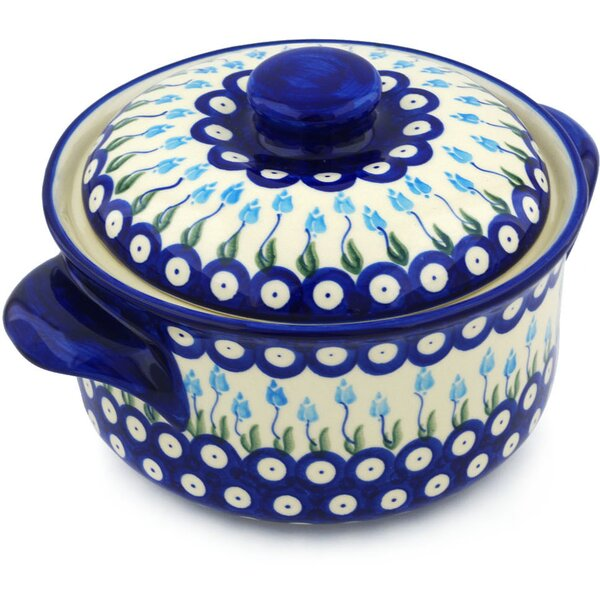 Floral Peacock Round Non-Stick Polish Pottery Baker with Cover by Polmedia