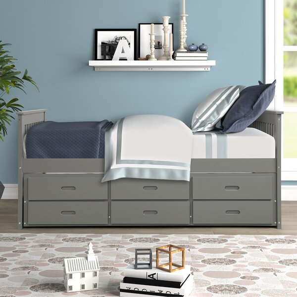 Mohammed Twin Mates & Captains Bed with Trundle 4 Drawers by Harriet Bee