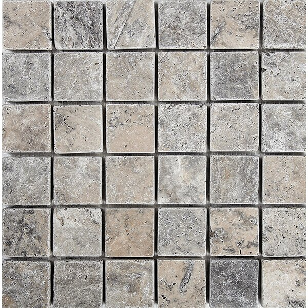 Tumbled 2 x 2 Stone Mosaic Tile in Silver by Parvatile