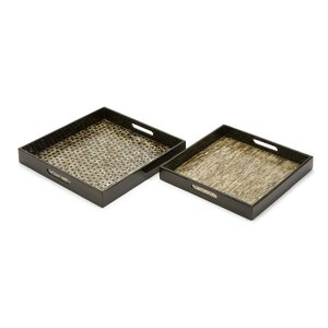 Merrie Mother of Pearl Square Serving Tray (Set of 2)