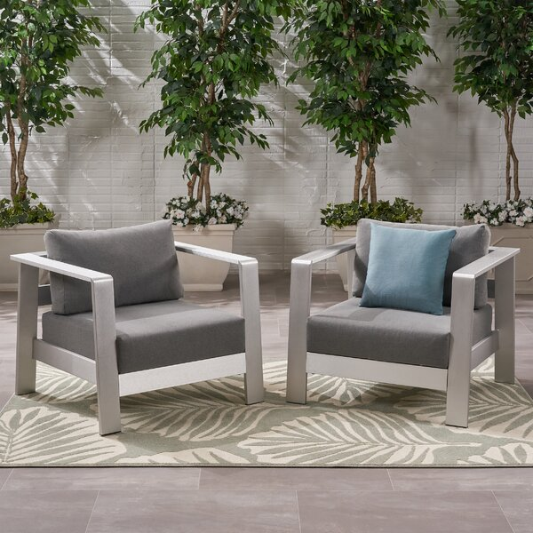 Wolsingham Outdoor Patio Chair with Cushions (Set of 2) by Orren Ellis Orren Ellis