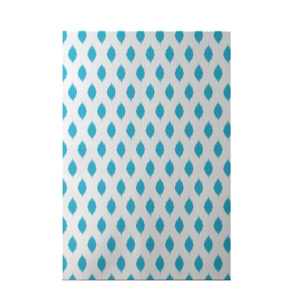 Cop-Ikat Geometric Print Turquoise Indoor/Outdoor Area Rug by e by design