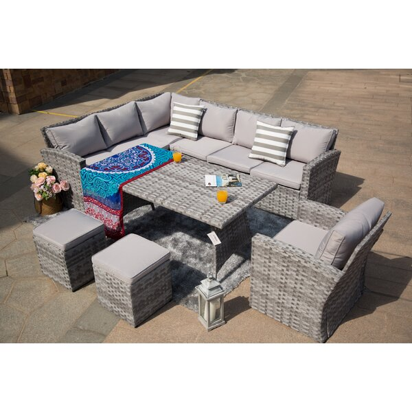 Kamdyn 6 Piece Rattan Sectional Seating Group with Cushions by Latitude Run