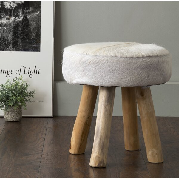 Talia Cowhide & Teak Stool in White by Jeffan
