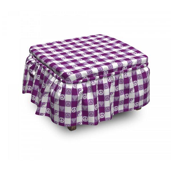 Plaid Yin Yang Hearts Peace 2 Piece Box Cushion Ottoman Slipcover Set By East Urban Home
