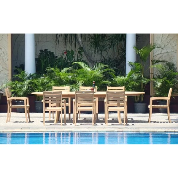 Ora Luxurious 9 Piece Teak Dining Set By Rosecliff Heights