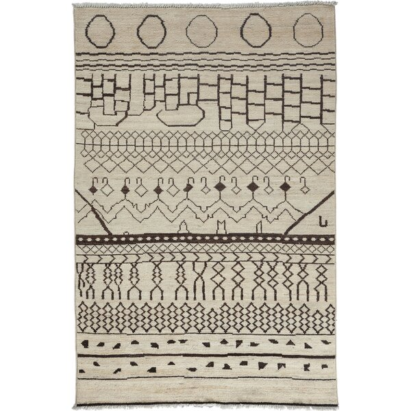 Moroccan Hand-Knotted Beige Area Rug by Darya Rugs