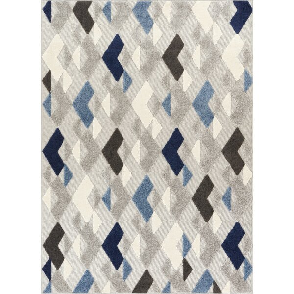 Dorado Beni Modern Geometric/Trellis High-Low Blue Indoor/Outdoor Area Rug by Well Woven