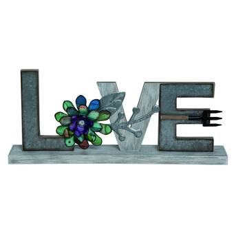 Decorative Love Word Art Wood Sitter Attraction Design Black Love Sign Tabletop Decor Distressed Wooden Cutout Word Decor Love Sign