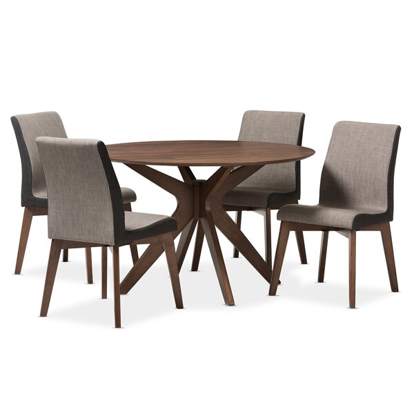 Kimberly Mid-Century Modern Wood Round 5 Piece Dining Set by Wholesale Interiors