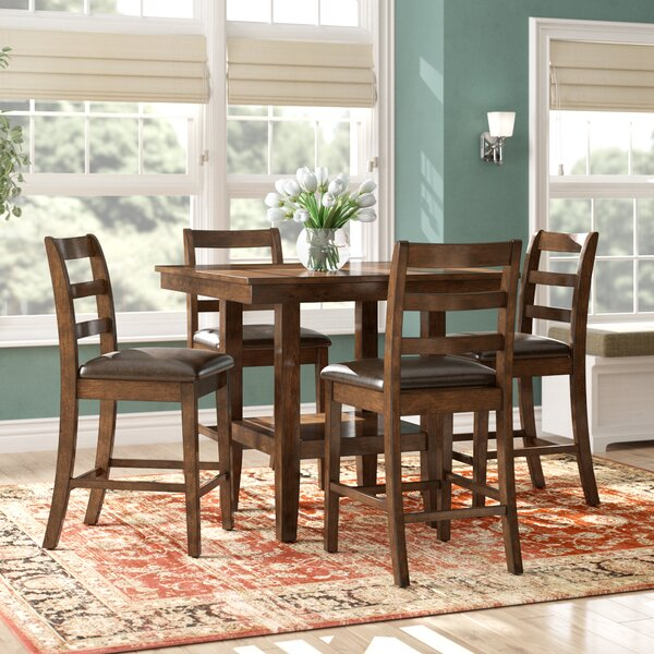 Gosselin Contemporary 5 Piece Counter Height Dining Set by Alcott Hill