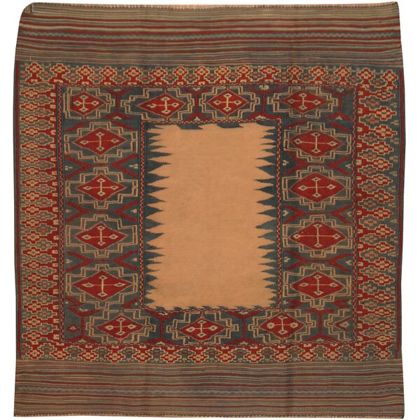 One-of-a-Kind Prentice Hand-Knotted Wool Blue/Red Area Rug by Isabelline