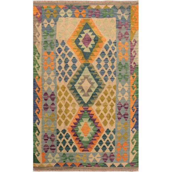 One-of-a-Kind Aalborg Hand-Woven Beige/Blue Area Rug by Isabelline