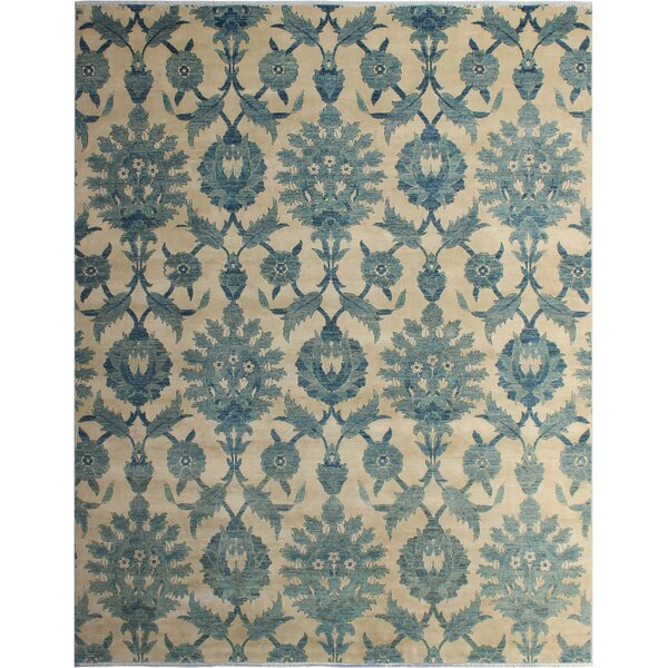 One-of-a-Kind Fason Peshawar Hand Knotted Wool Ivory/Blue Area Rug by Isabelline
