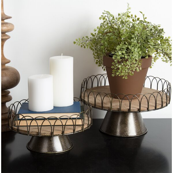 Delancey Rustic Wooden 2 Piece Accent Tray Set by Ophelia & Co.