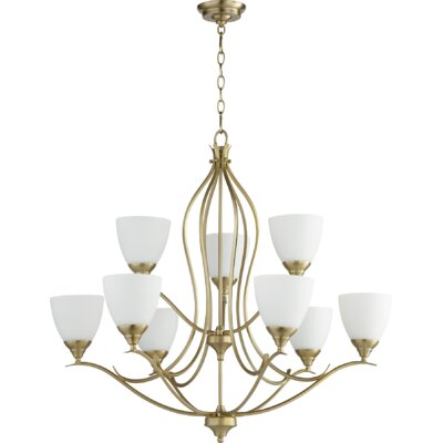 Harnois 9 light shaded chandelier