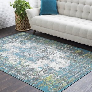 Sharpes Distressed Teal/Gray Area Rug