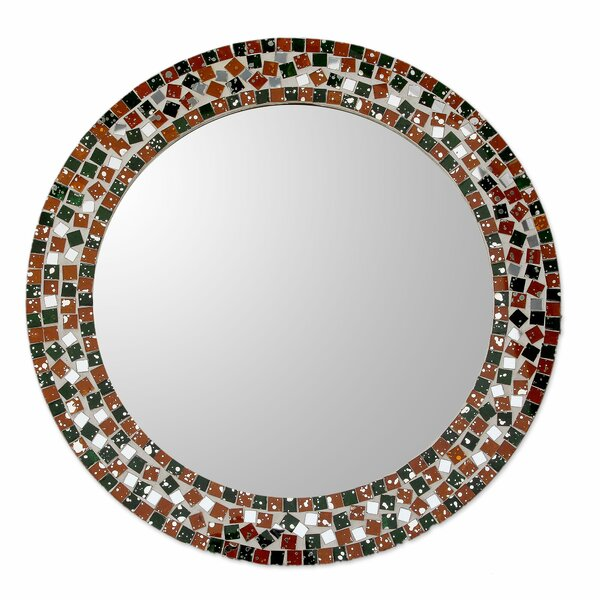 Forest Mosaic Artisan Crafted Round Wall Mirror with Glass Mosaic Frame by Novica