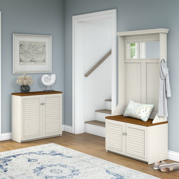Fairview Entryway Storage Set With Hall Tree, Shoe Bench And Accent Cabinet