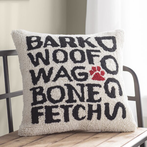 Amber I Love My Dog Wool Throw Pillow by Archie & Oscar