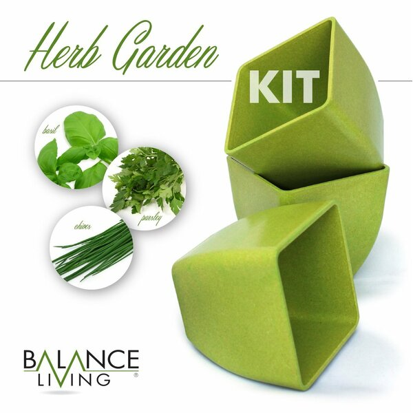 Balance Living Set of 3 Herb Garden Seeds, Soil and Pots Set by CUL Distributors