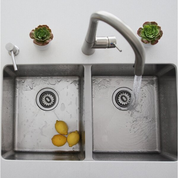 31 x 18 Double Bowl Undermount Kitchen Sink with Basket Strainer by Stylish