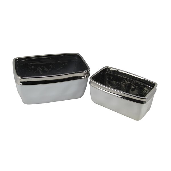 Brownlee 2 Piece Rectangular Electroplate Trim Pot Planter Set by Ivy Bronx