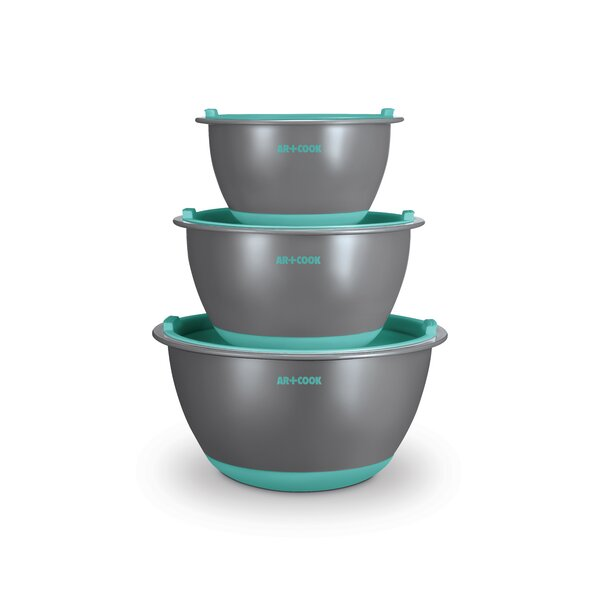 3 Piece Plastic Mixing Bowl Set with Lids by Art and Cook