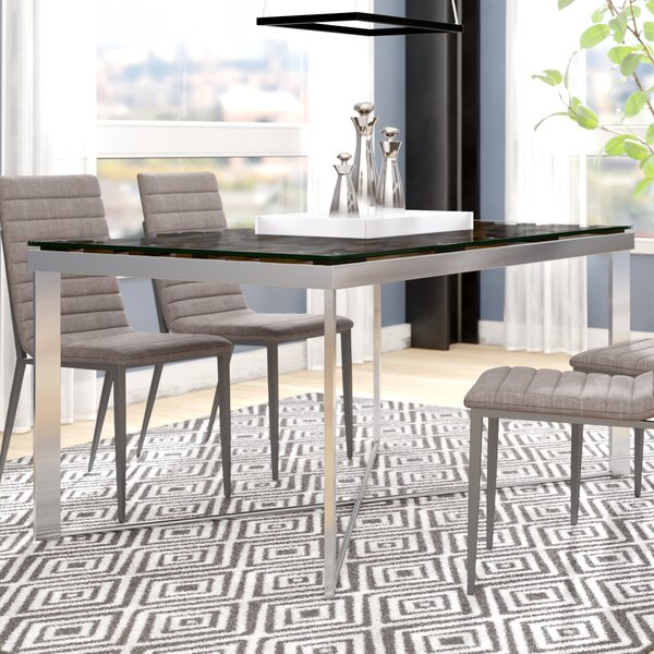 Marden Rectangular Wood Mosaic Dining Table by Wade Logan