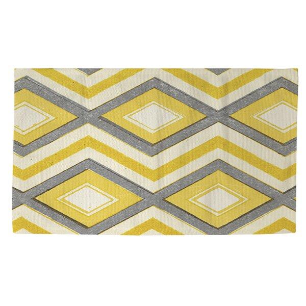 Battaglia Yellow/White Area Rug by Ebern Designs