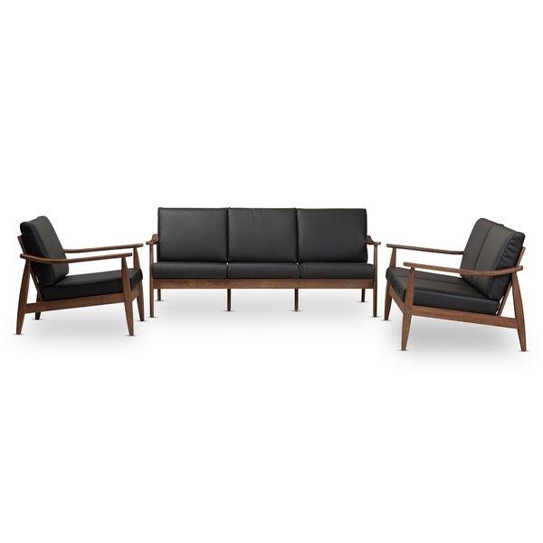 Kellner Mid-Century Modern 3 Piece Wood Frame Living Room Set by Union Rustic