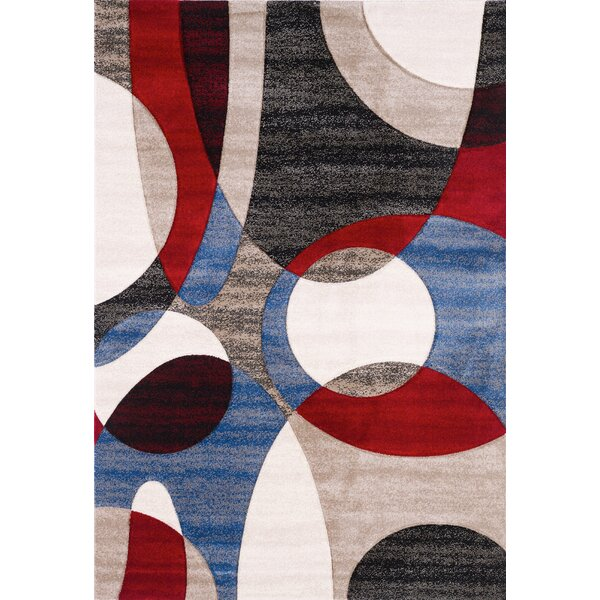 French Red/Blue Area Rug by Ebern Designs