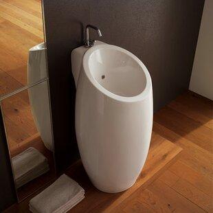 Inexpensive Planet Ceramic 22 Pedestal Bathroom Sink with Overflow ByScarabeo by Nameeks