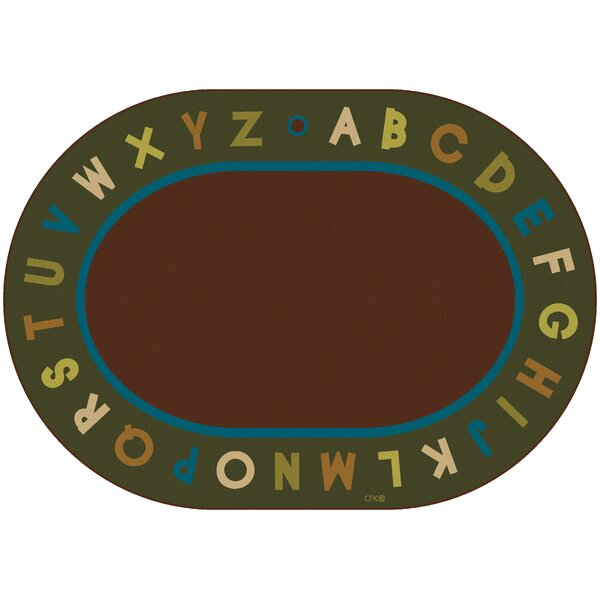 Emilion Brown / Green Alphabet Nature Area Rug by Zoomie Kids