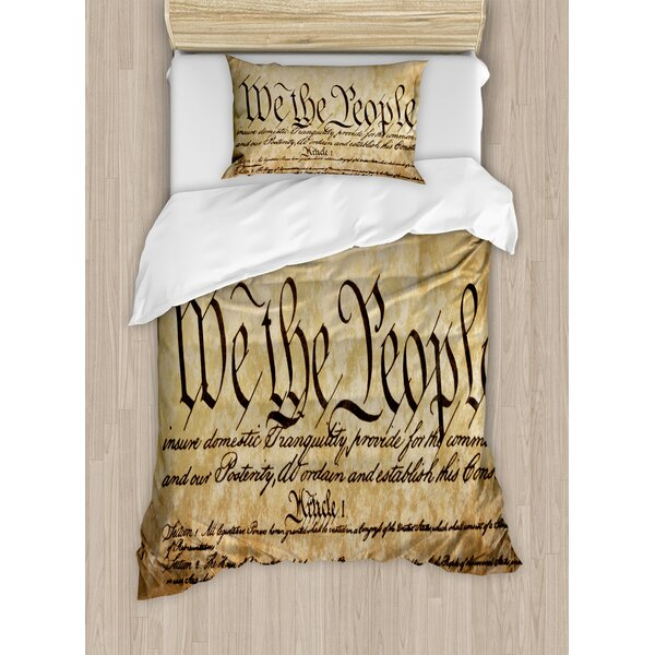 Vintage Constitution Text of America National Glory Fourth of July Image Duvet Set by East Urban Home