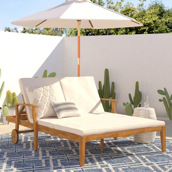 Antonia Double Reclining Teak Chaise Lounge With Cushion By Mistana