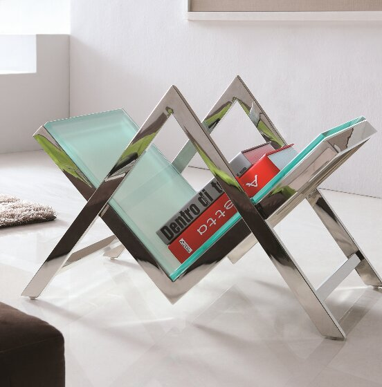Luxe Glass and Steel Magazine Rack by Pasargad