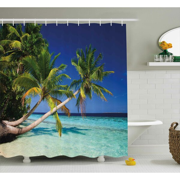 Idora Tropical Exotic Maldives Beach With Palms Paradise Coast Vacation Scenery Shower Curtain by Ebern Designs