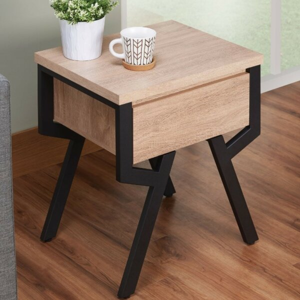Evgeniya Transitional Square Wood and Metal End Table by Union Rustic Union Rustic