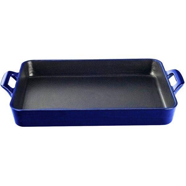 Shallow Cast Iron Roasting Pan by La Cuisine