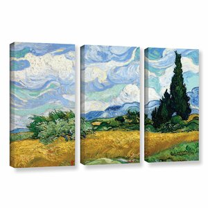 Wheatfield with Cypresses by Vincent Van Gogh 3 Piece Painting Print on Wrapped Canvas Set by ArtWall