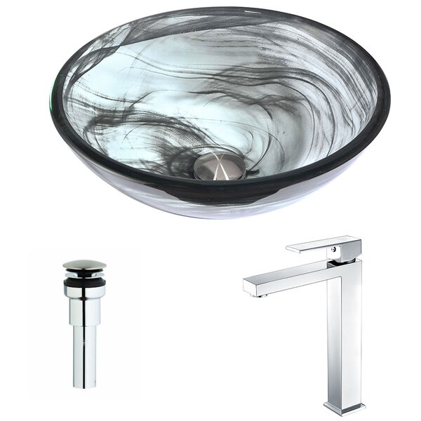 Mezzo Glass Circular Vessel Bathroom Sink with Faucet by ANZZI