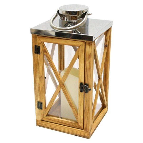 Wood and Stainless Steel Lantern by Northlight Seasonal