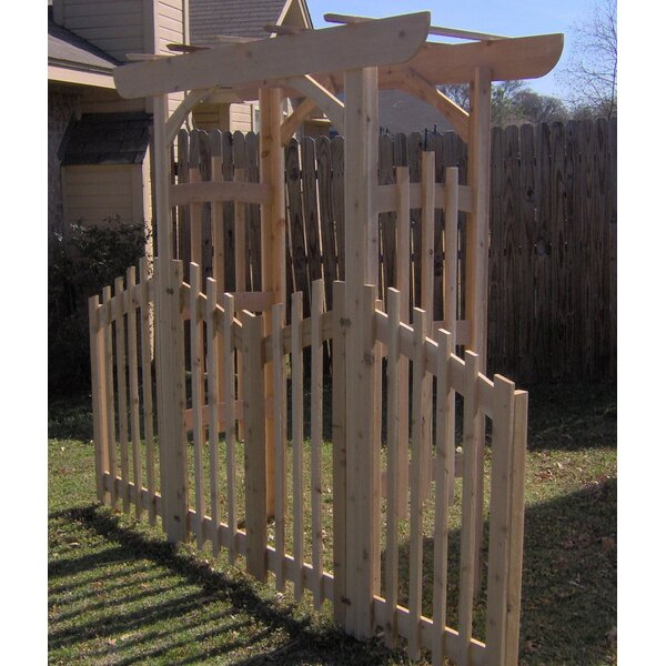 Decorative Cedar Wood Arbor with Gate and Side Panels by Threeman Products